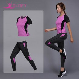 4142d71135 OLOEY 2 Pieces Women Yoga Set Fitness Gym Clothes Running Tennis Shirt+Pants  Yoga Leggings Jogging Workout Sport Suit