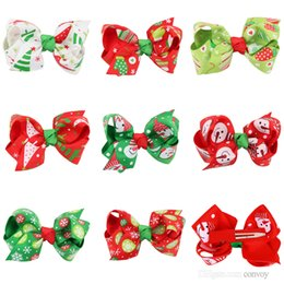 Girls baby Gifts online shopping - Baby Girls barrettes Christmas Hair Clips Xmas Gift Hairclips Kids Party Bows Hair Clips Childrens Hair Accessories KFJ16