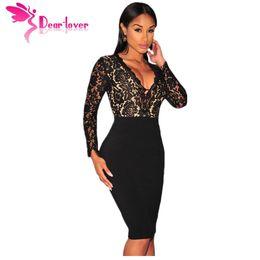 0a8fd2e35 Dear Lover Vestido De Renda Women Dresses Winter Party Black Lace Nude  Illusion Long Sleeves Bodycon Dress robes femmes LC60797