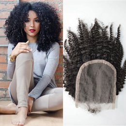 Discount virgin malaysian hair baby curly - Virgin Curly Hair Closures With Baby Hair Natural Black Indian Afro Kinky Curly Lace Closure Bleached Knots