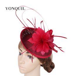 $enCountryForm.capitalKeyWord NZ - Wedding feather flower fascinator base hats DIY for women with ostrich quill adorned hat party headdress bridal hair accessories handmade