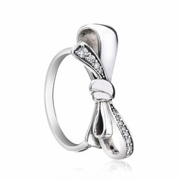 bow rings for woman UK - Mothers Day Original 100% 925 Sterling Silver Brilliant Bow Ring, Clear Crystal Rings for Women Fashion Rings DIY Jewelry
