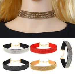Discount vintage pearl collar necklace - Rhinestones Velvet Leather Choker Necklace Flannelette Collar Neck Short Chain Clavicle Necklace Women Vintage Jewelry R