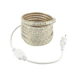 Ac Red Light UK - Fita LED AC 220 Volt SMD 5050 LED Strip Light Ribbon with European Standard Power Plug Adapter Warm white Cold white Red Blue