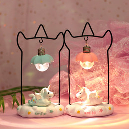 Wholesale Night Light Fixtures NZ - Desktop Cartoon Night Light Bedroom LED Night Lamp Fixture Home Decoration Birthday Christmas Gifts Pink Blue Indoor Lighting