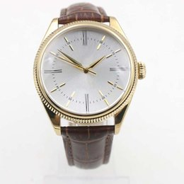 Chinese  Valued White Dial Gold Case Double Bezels Mens Watches Automatic Watch Wristwatch Alligator Strap Roman Number Markers manufacturers