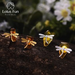 sterling silver dragonfly earrings 2019 - Lotus Fun Real 925 Sterling Silver Natural Amber Original Handmade Fine Jewelry Cute Dragonfly Stud Earrings for Women B