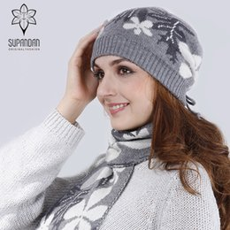 warming scarf Canada - SUPANDAN 2017 Winter Knitted Beanies Hat Scarf Set Women Caps Warm Floral Cashmere Hat Scarf For Girls High Quality 8448S