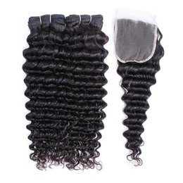 $enCountryForm.capitalKeyWord UK - Raw Virgin Indian Deep Wave Human Hair Extensions 2 Bundles With Lace Closure Natural Color Can Be Dyed Hair Bundles