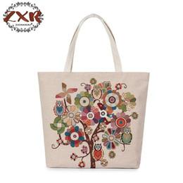 $enCountryForm.capitalKeyWord Canada - Hot Sale Women Canvas Bag Cute Owl Printed Tote Female Beach Bag Large Capacity Shoulder Shopping Bags Floral Handbag