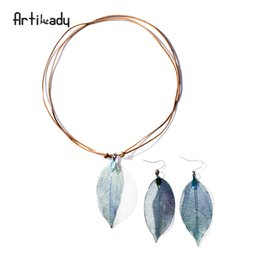 Copper Earrings Australia - whole saleArtilady real leaf pendant necklace earring set genuine leather copper necklaces women boho jewelry set gift dropshipping