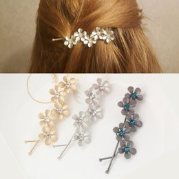 Flower Girl Rhinestone Hair Clips Australia - New Flower Rhinestone Women Hair Accessories Plum Floral Hair Clip Girls Hair Pins Sweet Wedding Headwear Silver Gold Barrette