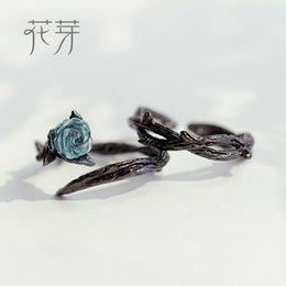 $enCountryForm.capitalKeyWord NZ - Thaya Rose Thorns s925 Silver Rings Blue Crystal Rose Flower Vintage Plant Valentine's Gift for Women Knot Black Fine Jewelry Y18102510