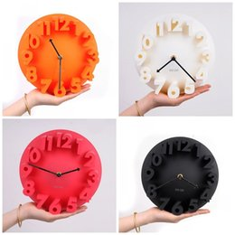 Round plastic clock online shopping - Creative Simple Design D Number Clocks Round Shape Solid Color Watches Super Quiet Mute Hang Clock For Home Wall Decoration hl Z