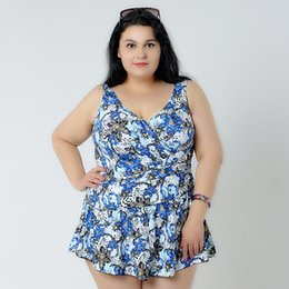 Discount swimwear for fat women - wholesale Plus Size One Piece Swimsuit Skirt Push Up Swimwear Women Dress Bathing Suit Large Size Swim Suit For Fat Wom