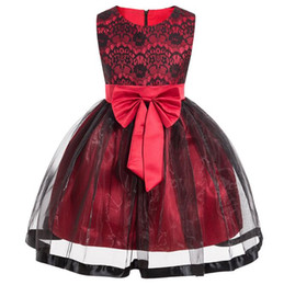 $enCountryForm.capitalKeyWord UK - New Girls Dresses European and American Big Bow Princess Pattern Lace Wedding Party Dress for Child Red Blue