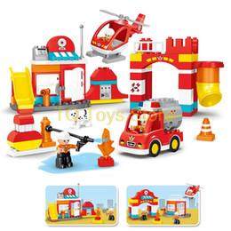 Toys Bricks Australia - 90PCS Big Blocks City Fire department Firemen Building Blocks set Kids DIY Brick Creative Toys for Kids Compatible legoing Duplo