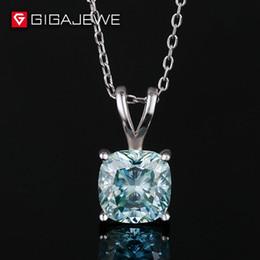 Бесплатная доставка GiGAJEWE 3carat подушка вырезать мода стерлингового серебра 925 moissanit камень инкрустированные ожерелье для подарок на день рождения