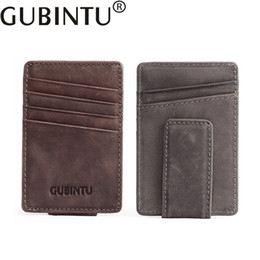 soft genuine leather UK - GUBINTU Genuine Leather Money Clips Ultra-thin Slim Cash Holder Card Cases small Wallet with Coin Male Soft Purse cartera