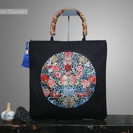 Ricamo originale Buona fortuna come si desidera Borsa a tracolla in cotone per borse da donna borsa da donna in stile tote in lino retrò stile cinese in Offerta