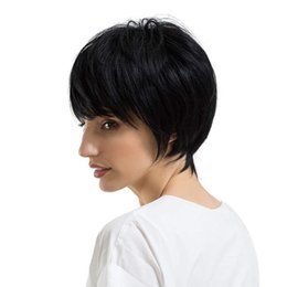 cheap human hair lace fronts UK - Brazilian Lace Front Human Hair Wigs New Arrival Cheap Pixie Cut Short Glueless Wig with Bangs for African Best Straight Human Hair Wigs