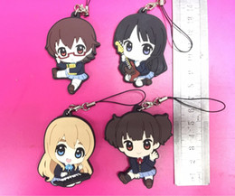 anime mobile phone 2019 - 2018 NEW 4pcs lot K-ON! Original Japanese anime figure rubber Silicone sweet smell mobile phone charms key chain strap D