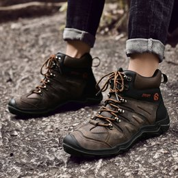 Camp Shoes For Men Australia - Man Hiking Shoes Autumn Winter Mens Hunting Boots Black Brown Camping Sneakers Men Rubber Bottom Rock Climbing Shoes For Male