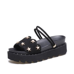 $enCountryForm.capitalKeyWord UK - Thick bottom sandals, female sandals, summer 2018 new models, Pearl Rome cold towing word with genuine leather muffin bottom with slippers.