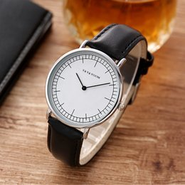 top luxury watches men Canada - VA VA VOOM Top Brand Couple Watches Leather Wrist Watch Men Women Watches Luxury Lovers' Watch Clock reloj mujer reloj hombre