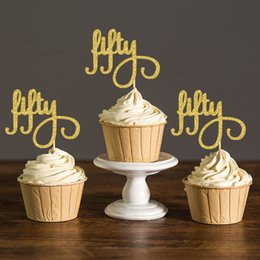 Gold Silver Black Glitter Script Fifty Cupcake Toppers Picks50th Birthday Party Favors DecorationsFifty Supplies