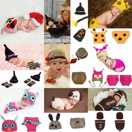 CroChet baby Clothes online shopping - Newborn Crochet photography Sets Baby Photography Props Xmas knit costume Cartoon Halloween Christmas infant Cosplay clothing styles C5105