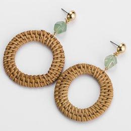 Discount titanium weave - 2018 Wood Bamboo Rattan Straw Weave Geometric Big Round Drop Earrings for Women Girl Bohemian Earrings Jewelry