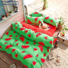 $enCountryForm.capitalKeyWord NZ - 4PCS Beddingset Watermelon Banana Printed Duvet Cover Bed Sheet Pillowcase Polyester Brief Full King Queen Tiwn Beding Cover