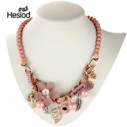 774ae323d573 Hesiod tela flor babero collar llamativo para las mujeres de aleación de la  hoja de imitación de la perla de la vendimia gargantilla collares Maxi  Collier ...