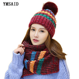 knitted hood scarf NZ - Ymsaid 2018 winter Hot Sale New Fashion 1Set Women Warm Woolen Knit Hood Scarf Shawl Caps Hats Suit Thickened knitted hat Y18102210