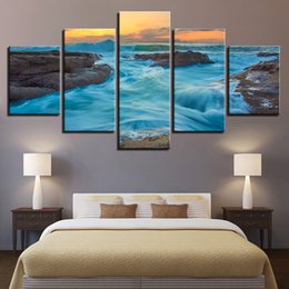 Art Canvas Prints Australia - Canvas Wall Art 5 Pieces Sunset Beach Sea Waves Seascape Pictures Framework Modular Living Room HD Printed Posters Home Decor