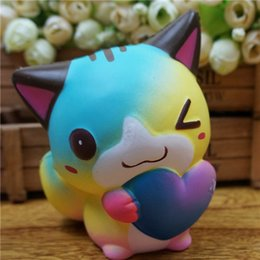 Colourful Love Cat Squishy Cute 12cm Jumbo Slow Rising Phone Straps Cartoon  Pendant Cream Scented Bread Kids Fun Toy Gift Free Shipping