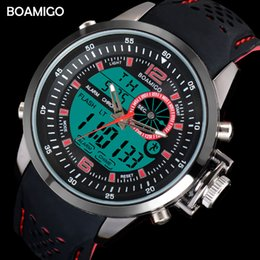 Wholesale men sport watches dual time digital watches rubber analog quartz watch BOAMIGO brand red chronograph wristwatches reloj hombre