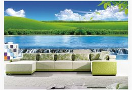 Discount scenic background paper - Custom 3D photo wallpaper Scenic waterfall Forest Wallpaper living TV sofa background wall 3D nature landscape mural wal
