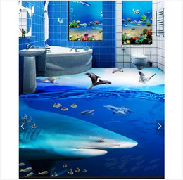 $enCountryForm.capitalKeyWord Australia - Self-adhesive Waterproof Flooring Wall Sticker Customized 3D wallpaper floor painting wall paper Ocean shark tropical fish bedroom 3D floor