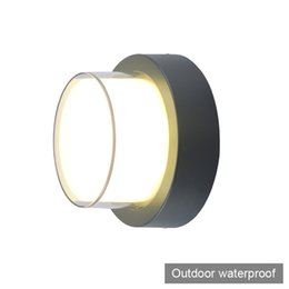 outdoor lighting sconces 2018 - 2 pieces round button modern brief style LED wall light lamp sconce outdoor waterproof decorative outdoor LED wall light
