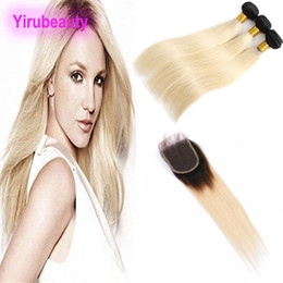 Discount tone ombre straight hair - Indian Unprocessed Human Hair 3 Bundles With 4X4 Lace Closure Baby Hair Wefts With Closure 1B 613# Blonde Two Tones