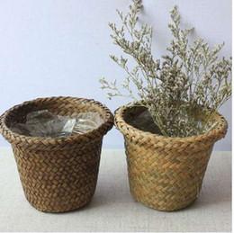 $enCountryForm.capitalKeyWord Australia - Non-Vine Wicker Decorative Flower Basket Rustic Style Waterproof Plastic Film Fleshy Planting Gardening Flower Pot 88D