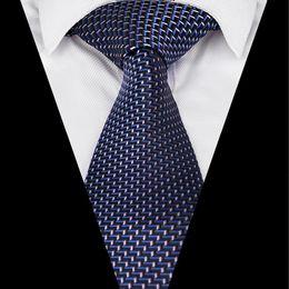 Discount satin necktie - Ikepeibao New Italian Satin Plain Formal Wide Neck Tie Men`s Tie blue Plaid Jacquard Woven Business Ties Necktie