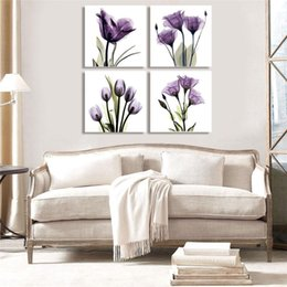 Flower Canvas Prints NZ - Canvas Modular Home Decor 4 Pieces Lotus Purple Flowers Painting HD Frame Tableau Modern Print Wall Art Pictures For Living Room