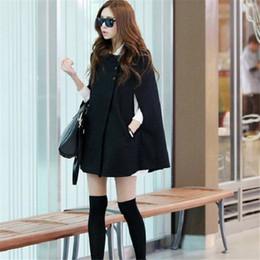 Discount casual cape cloak jacket - Women Korean Ladies Batwing Oversized Casual Poncho Winter Coat Jacket Loose Cloak Cape Outwear Black Coat M L NQ653575