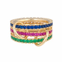 finger ring woman set Canada - Gold filled red blue green cz eternity stacking band finger ring for women european fashion gorgeous female stack ring sets S18101608