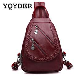 Backpacks For Girls Canada - Fashion Double Zipper Leisure Women Backpack PU Leather Backpacks Female School Shoulder Bags for Teenage Girls Travel Back Pack