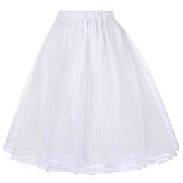 Wholesale adult tutus skirts for sale - Group buy Tulle Skirts Womens Black White Adult Tutu Skirt Elastic High Waist Pleated Vintage Petticoat Saia Rockabilly Swing Midi Skirt