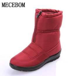 flat shoes size 42 UK - snow boots 2017 Winter warm waterproof women boots mother shoes casual cotton winter autumn boots femal plus size 35-42